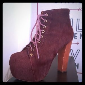 JEFFREY CAMPBELL  LITAS with Wine colored fur